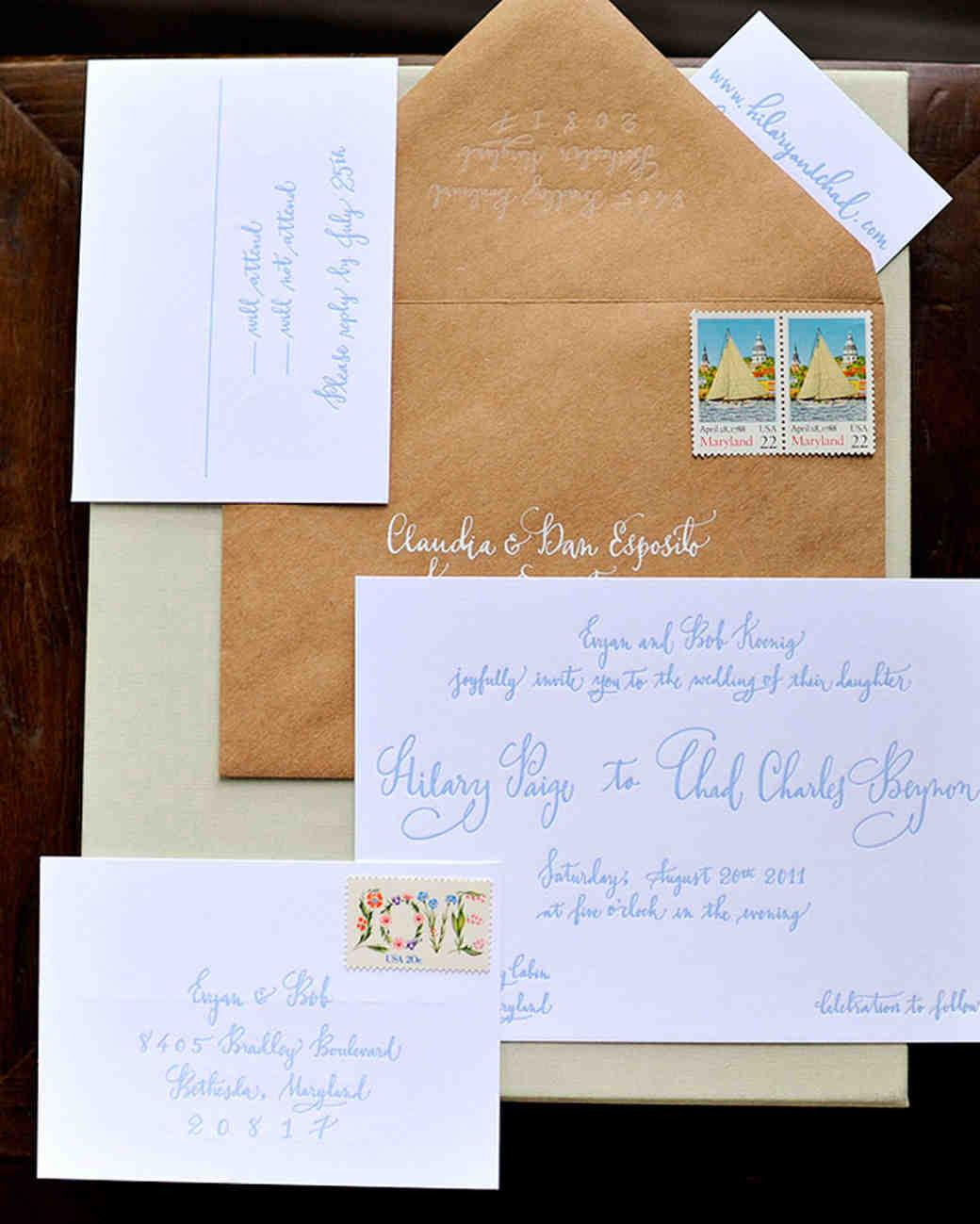 calligraphed wedding invitation