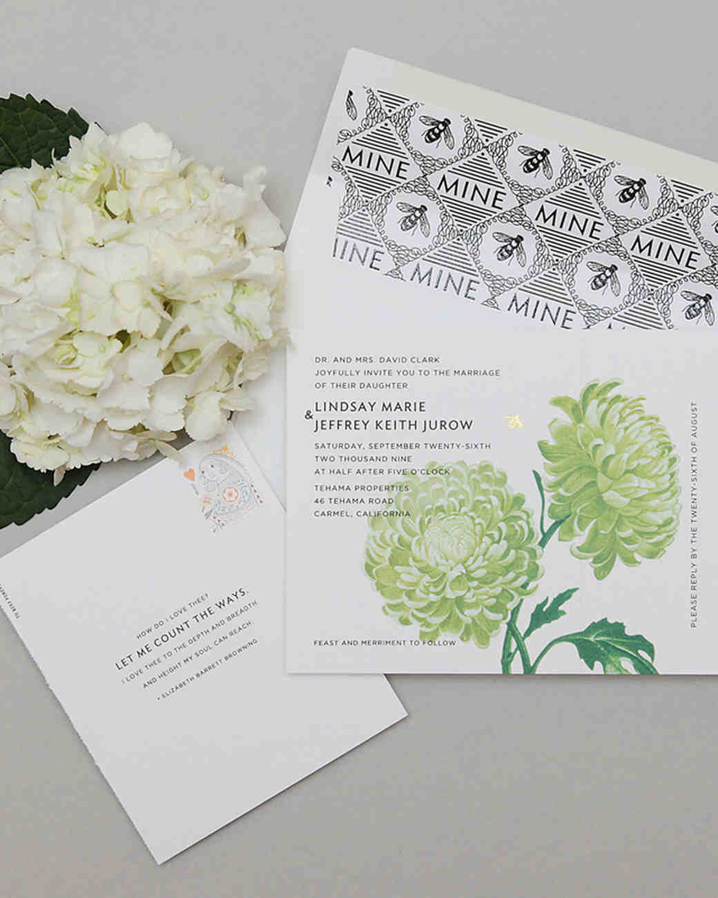 Gorgeous floral wedding invitations martha stewart weddings for Wedding invitations with real flowers