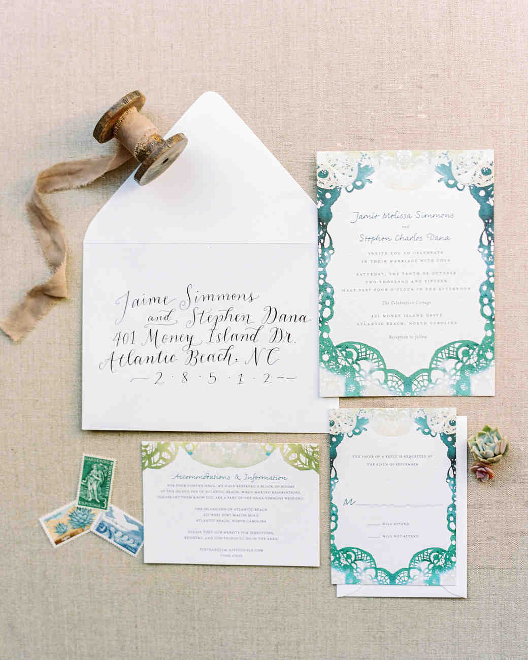 blue and green beach wedding invitation