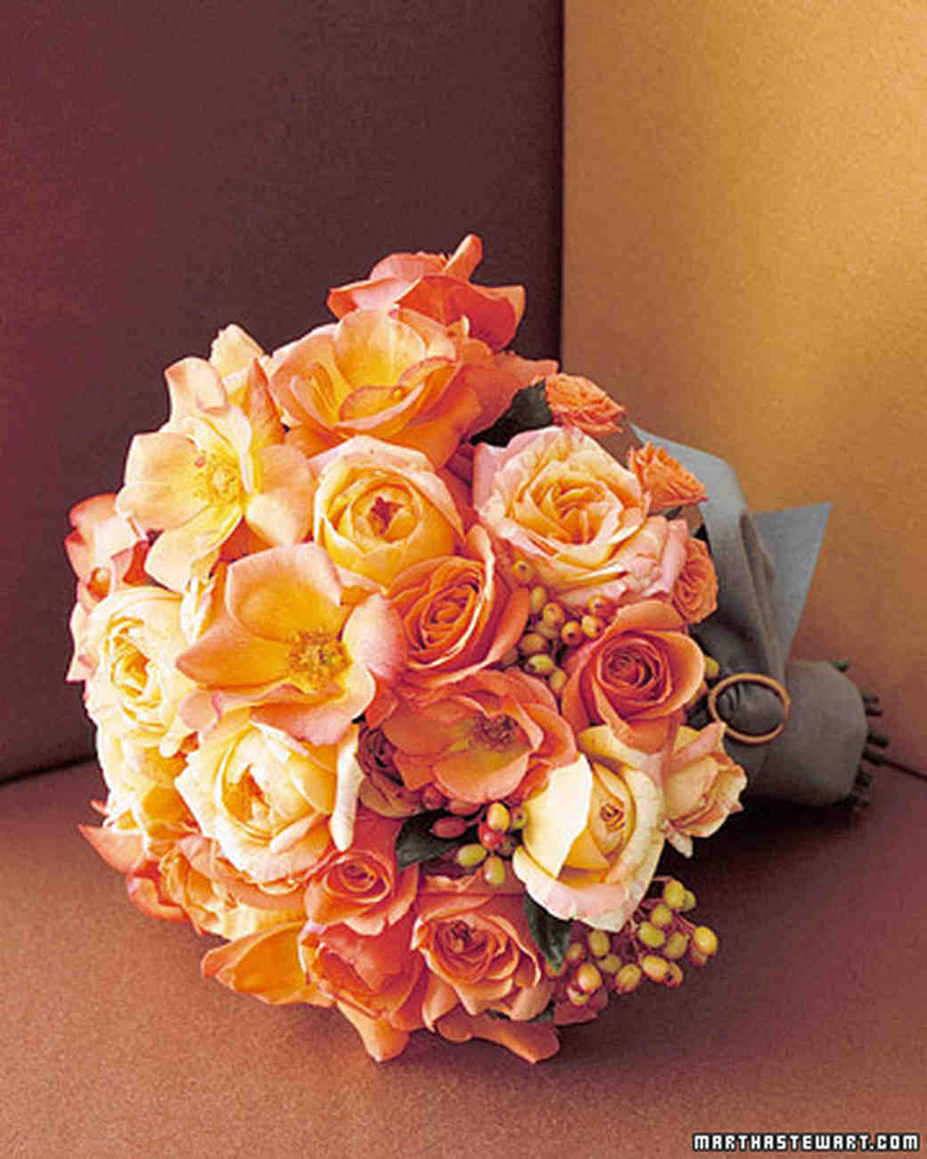 orange wedding bouquets martha stewart weddings. Black Bedroom Furniture Sets. Home Design Ideas