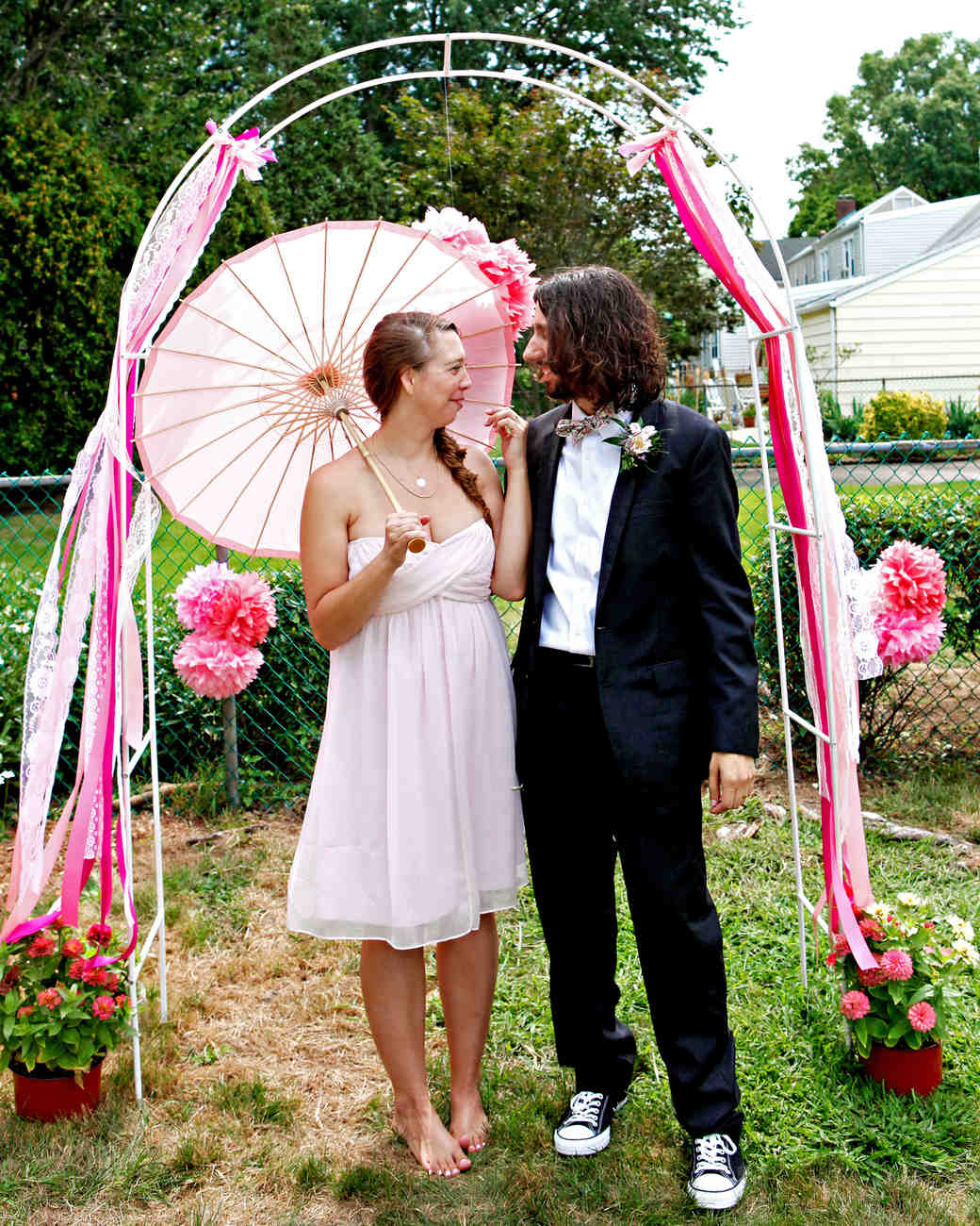 Pink Pom-Pom and Ribbon Wedding Arch