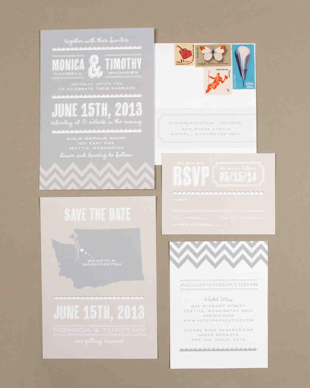 muted wedding invitation
