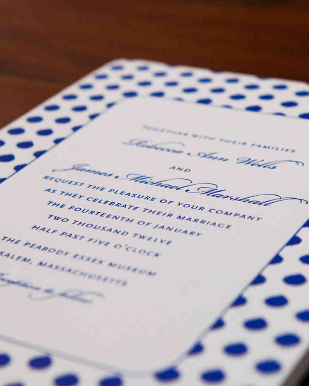 dotted wedding invitation