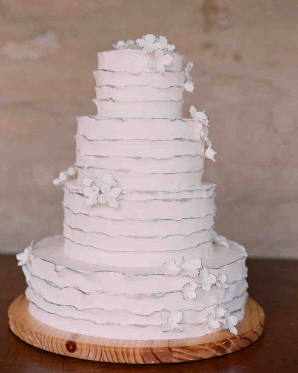 White Ruffled Wedding Cake
