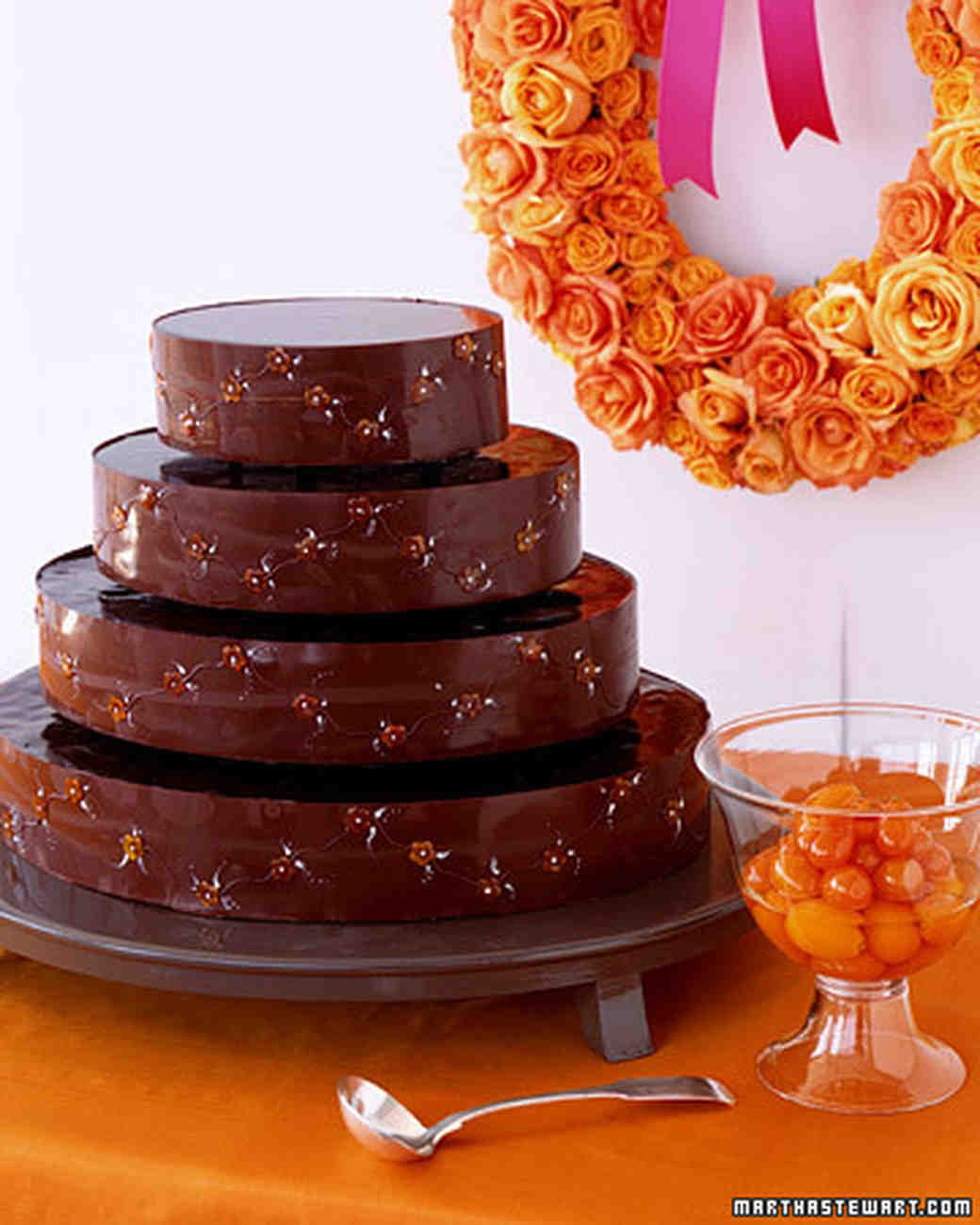 Chocolate Kumquat Wedding Cake