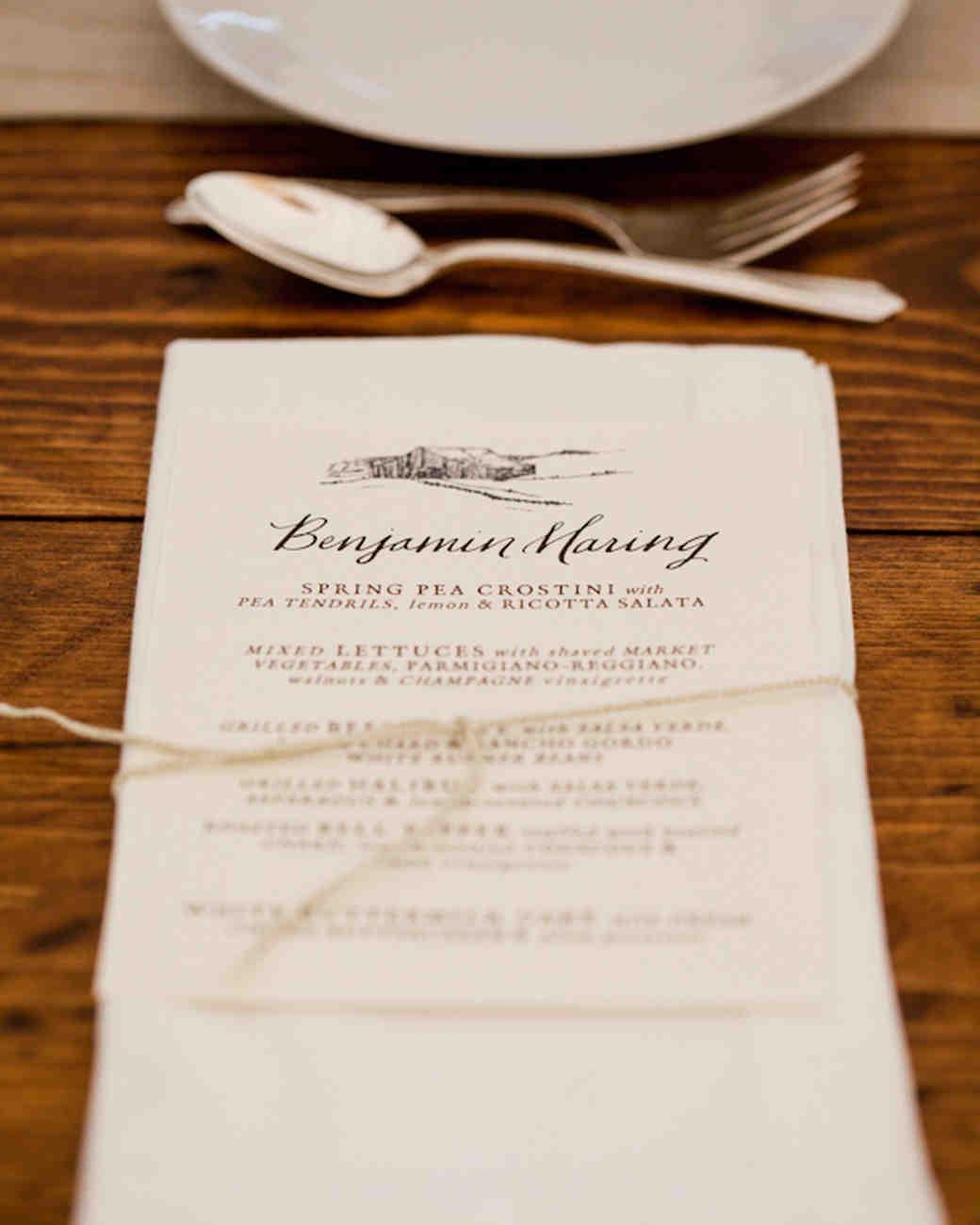 Best Wedding Menu Cards From Real Celebrations | Martha Stewart ...