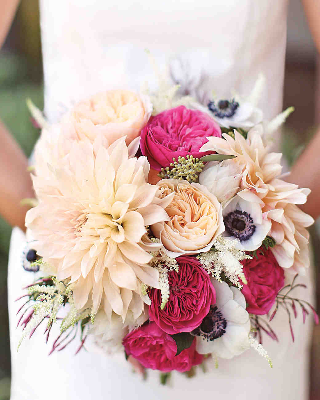 Peach, White, and Hot Pink Bouquet with Oversized Dahlia