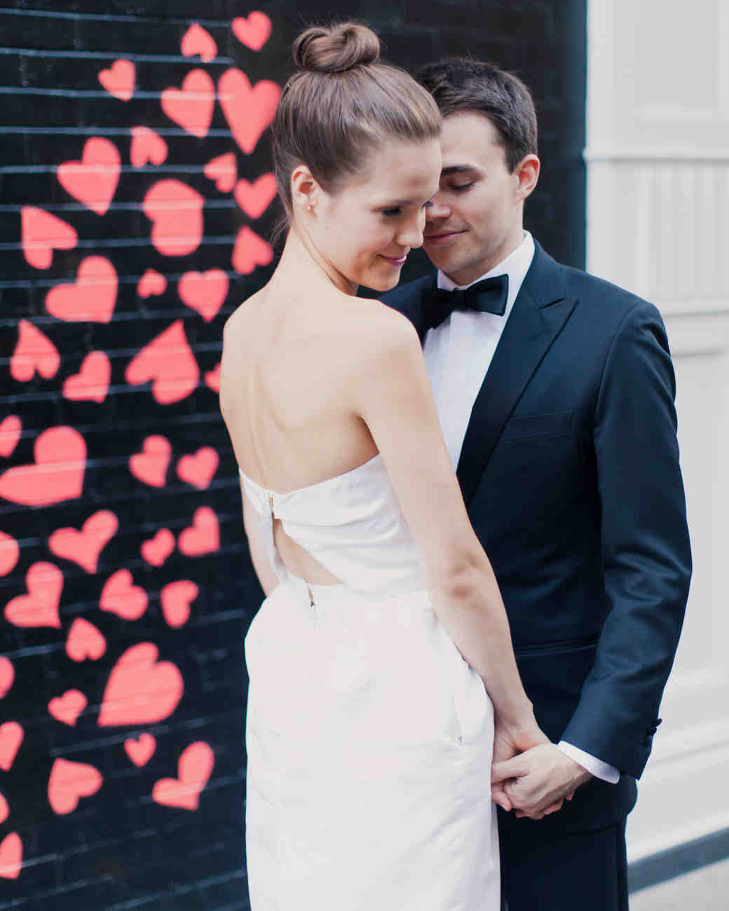 Wedding Portrait with Heart Mural Background