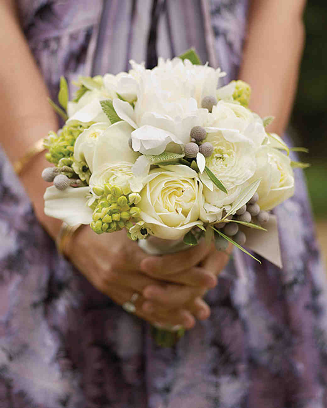 White, Green, and Gray Wedding Bouquet