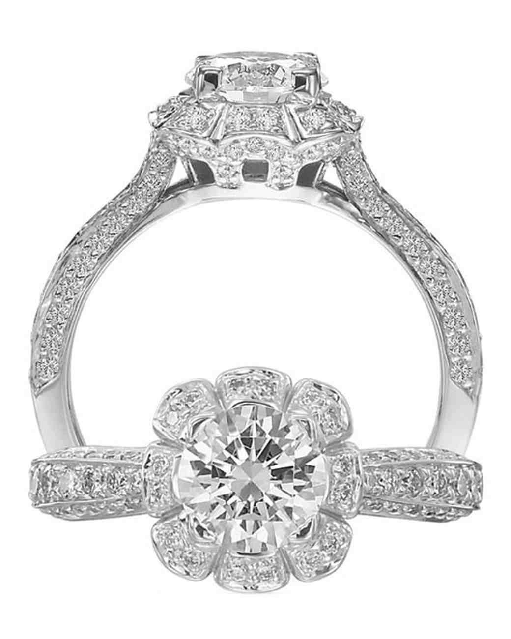 Ritani White Gold Floral Engagement Ring