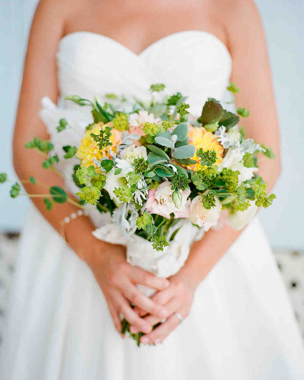 Pink and Yellow Bridal Bouquet with Loose Greenery
