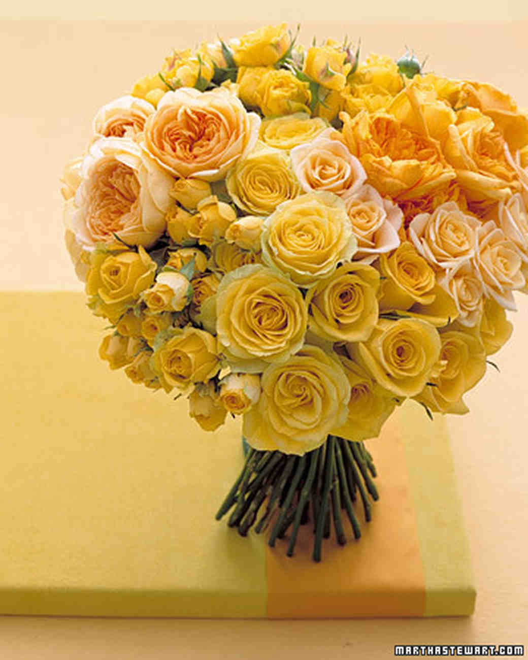 Yellow Rose Centerpiece : Yellow wedding bouquets martha stewart weddings