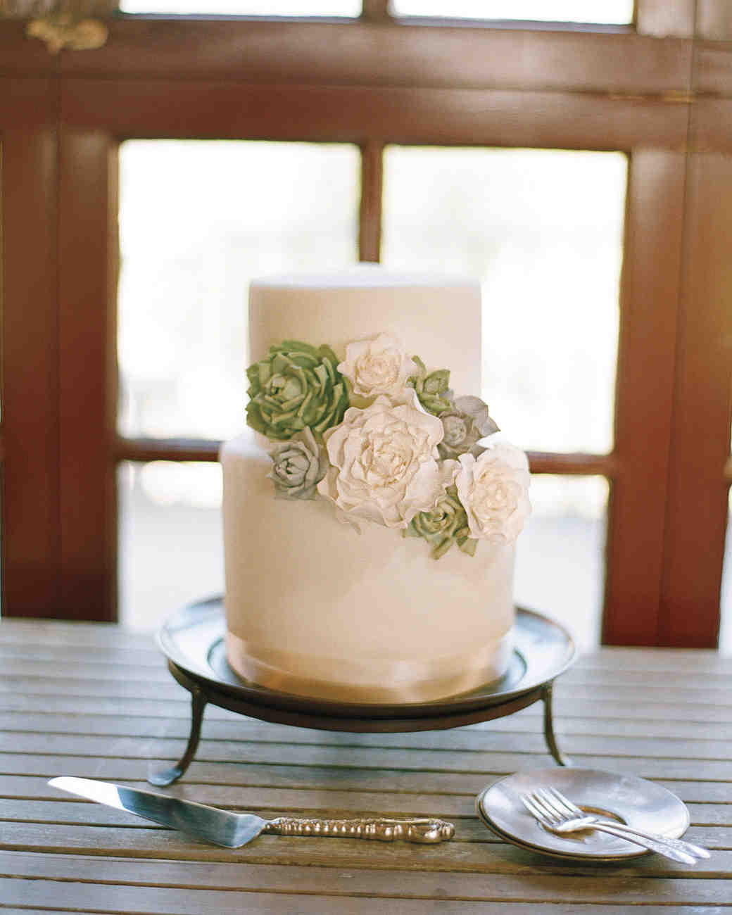 Two-Tiered White Wedding Cake with Green Sugar Succulents