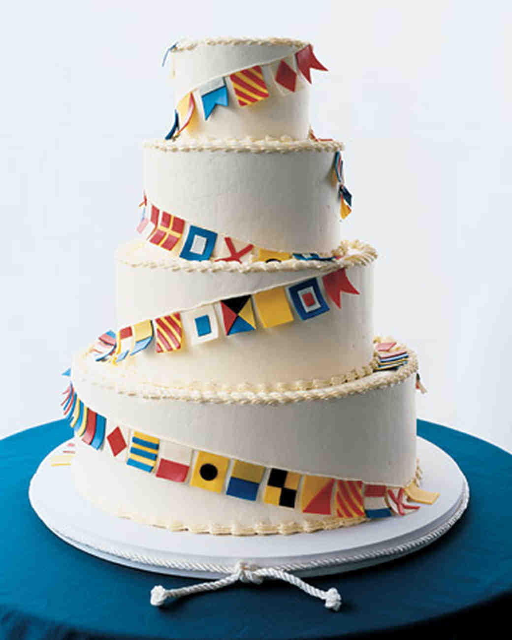 White Wedding Cake with Code Flags