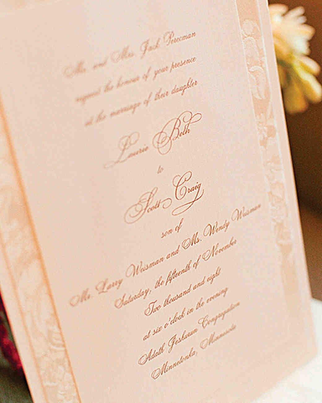 taupe ink wedding invitation