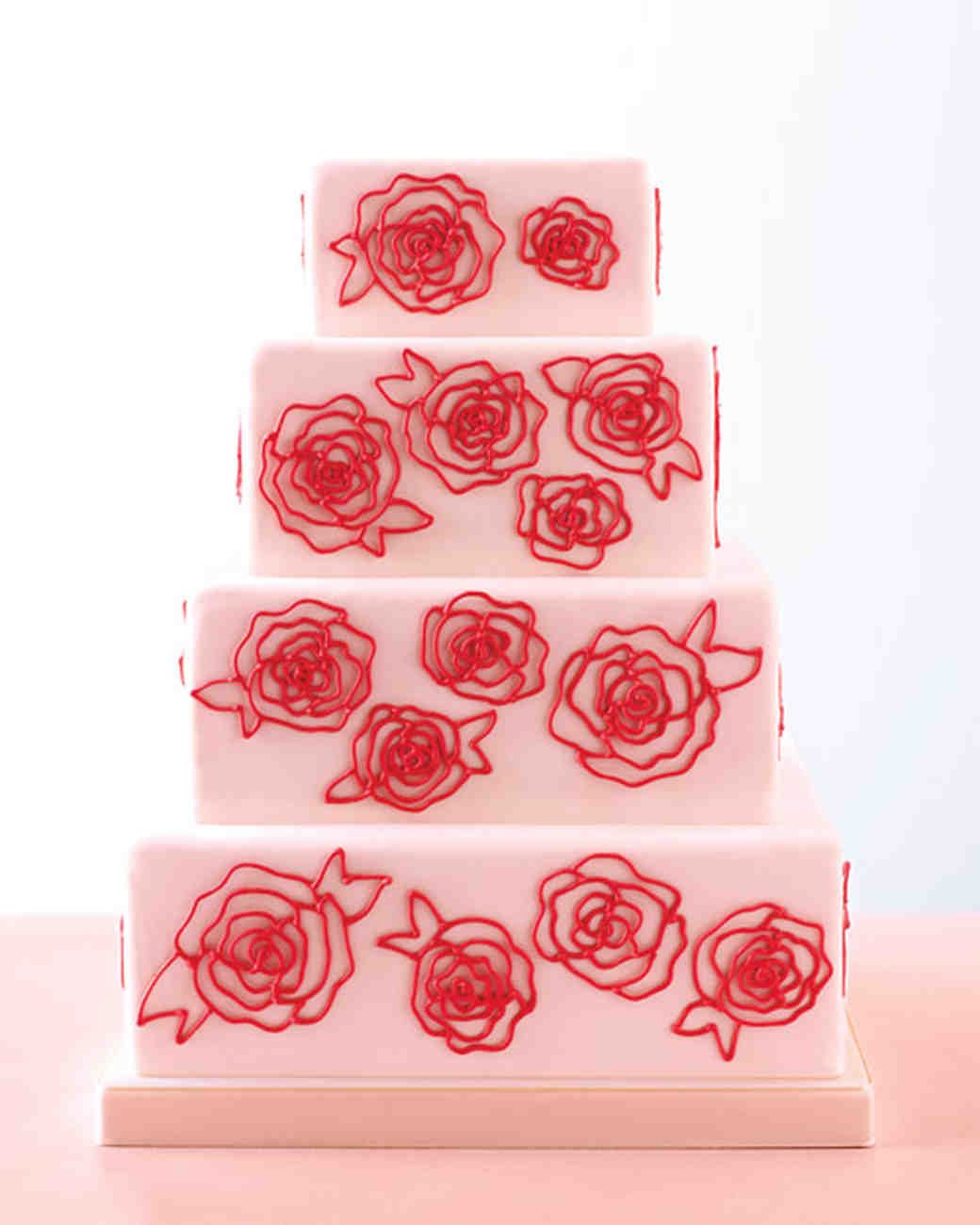 rose-piped wedding cake