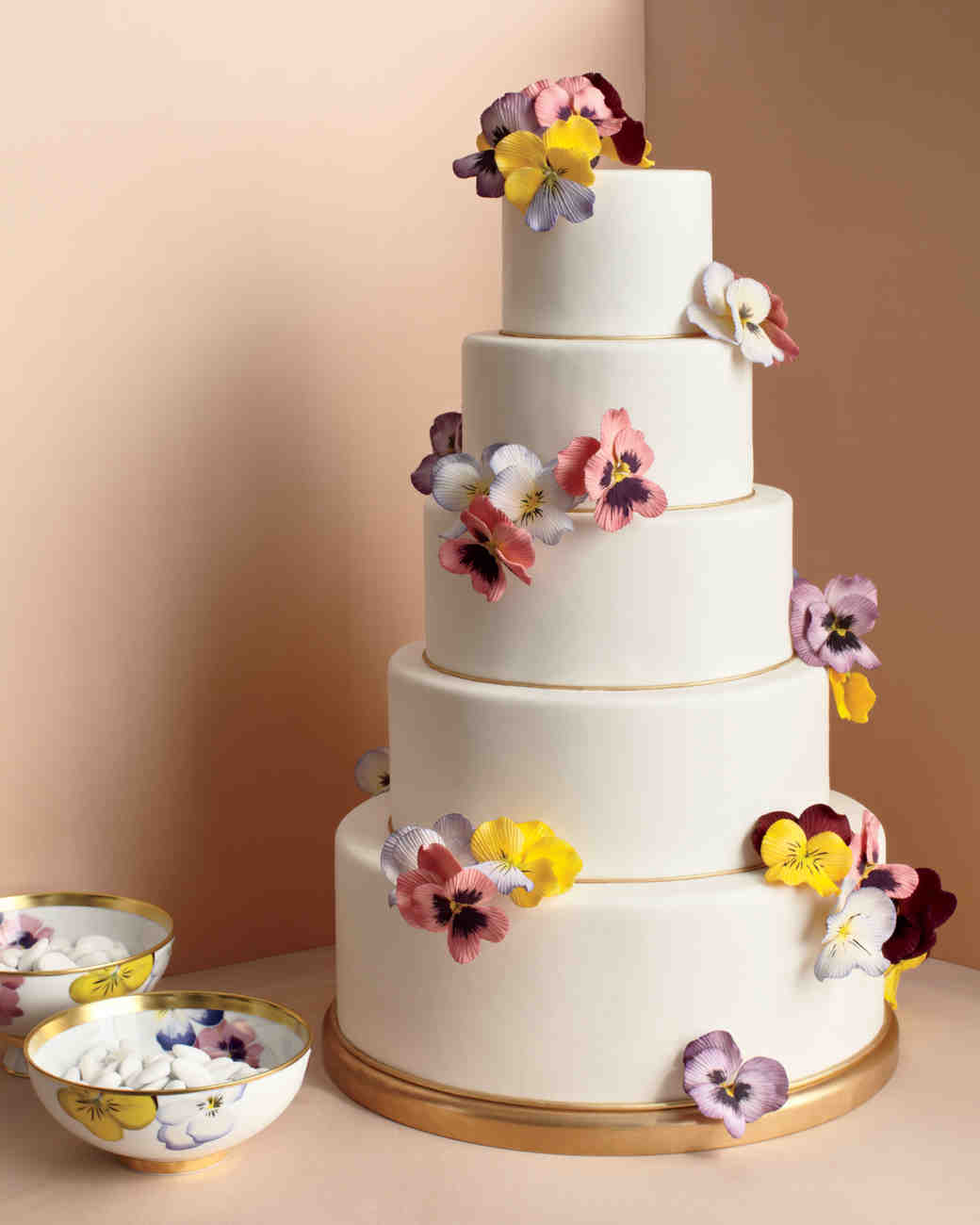 Five-Tiered White Wedding Cake with Painted Sugar Pansies