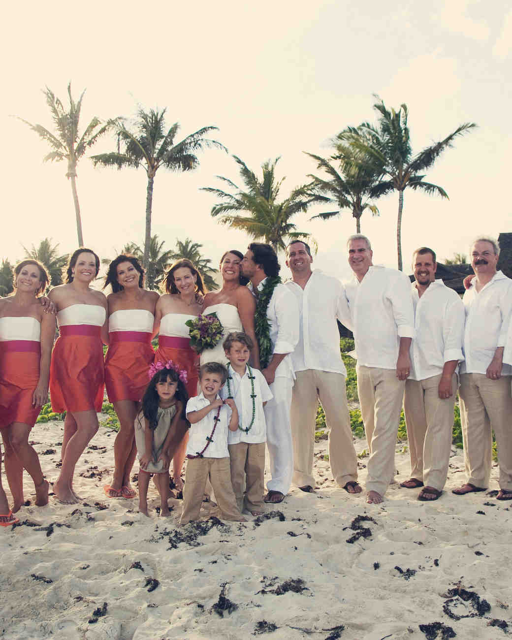 An Orange-and-Fuchsia Outdoor Destination Wedding in Hawaii