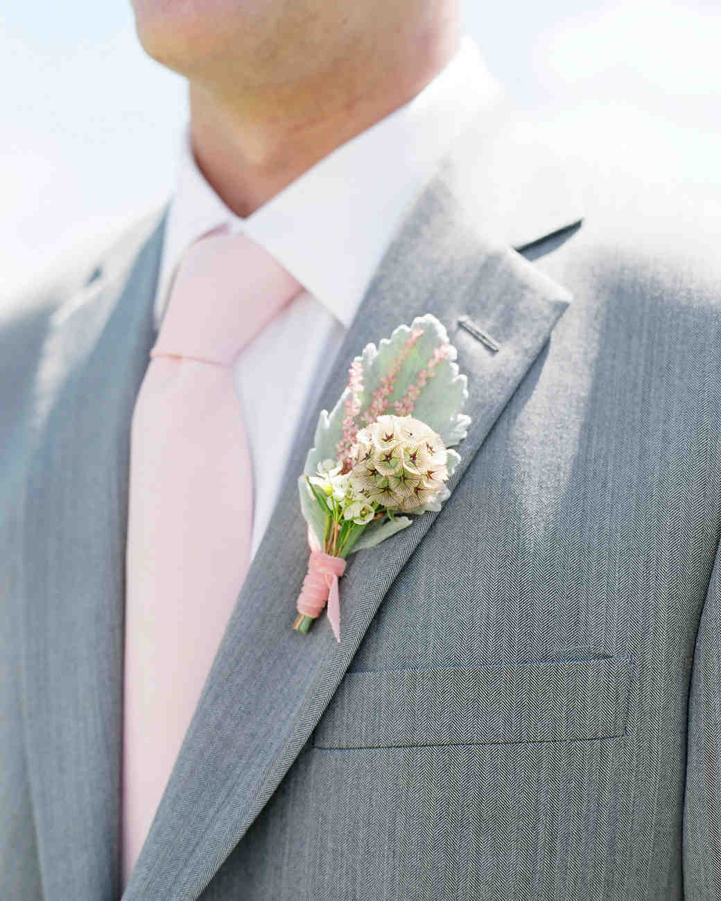 Pink Wedding Boutonniere and Tie