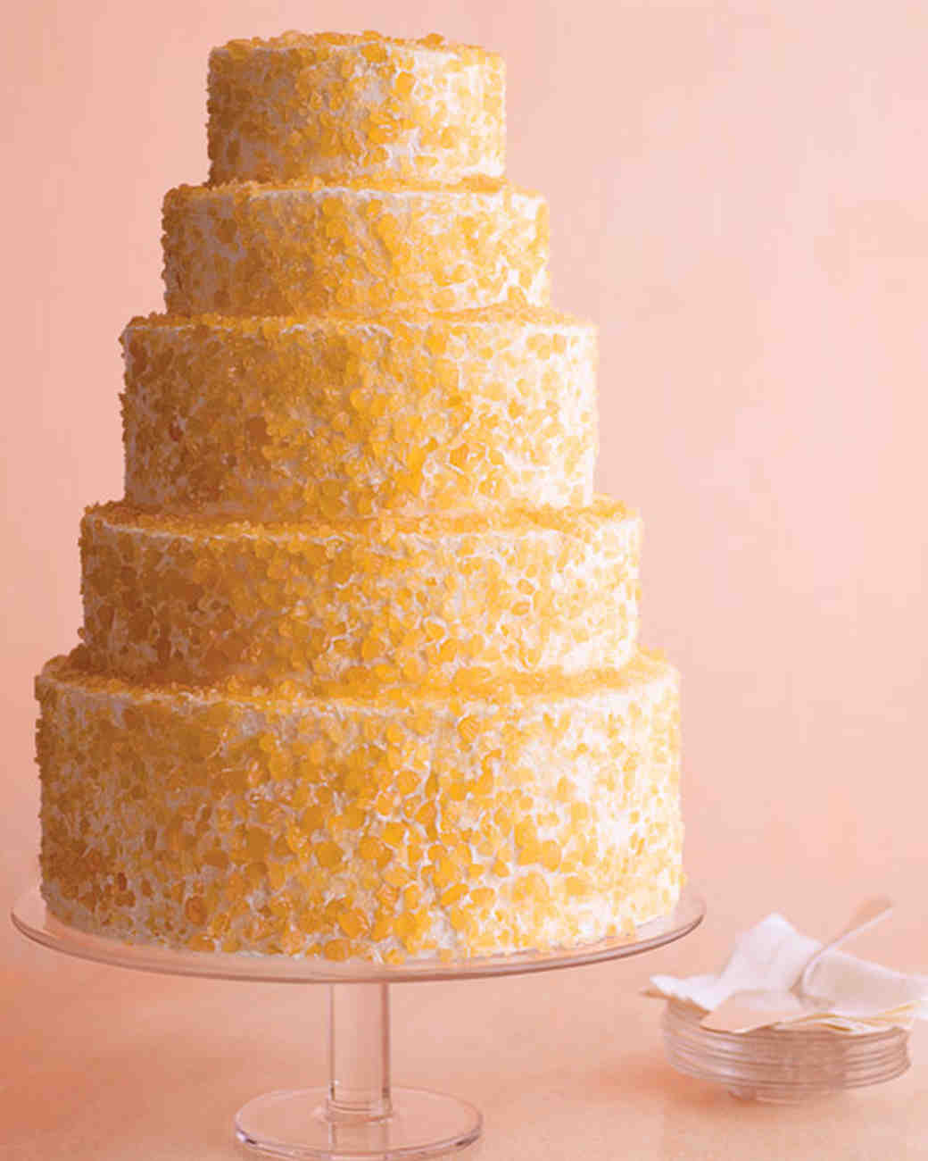 yellow-candy wedding cake