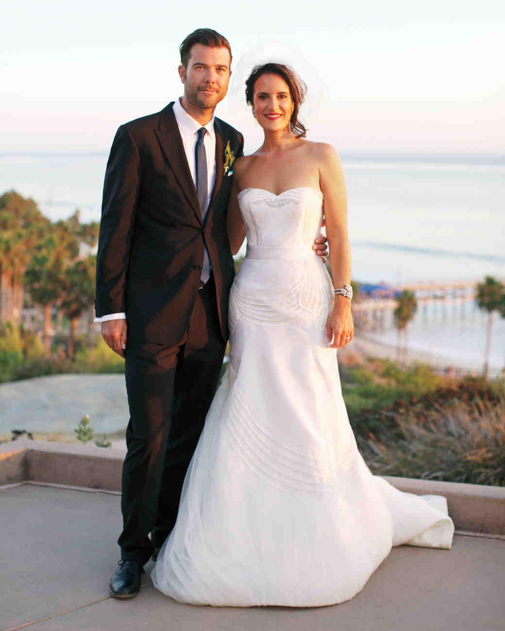 Bride in Unique Strapless Wedding Gown
