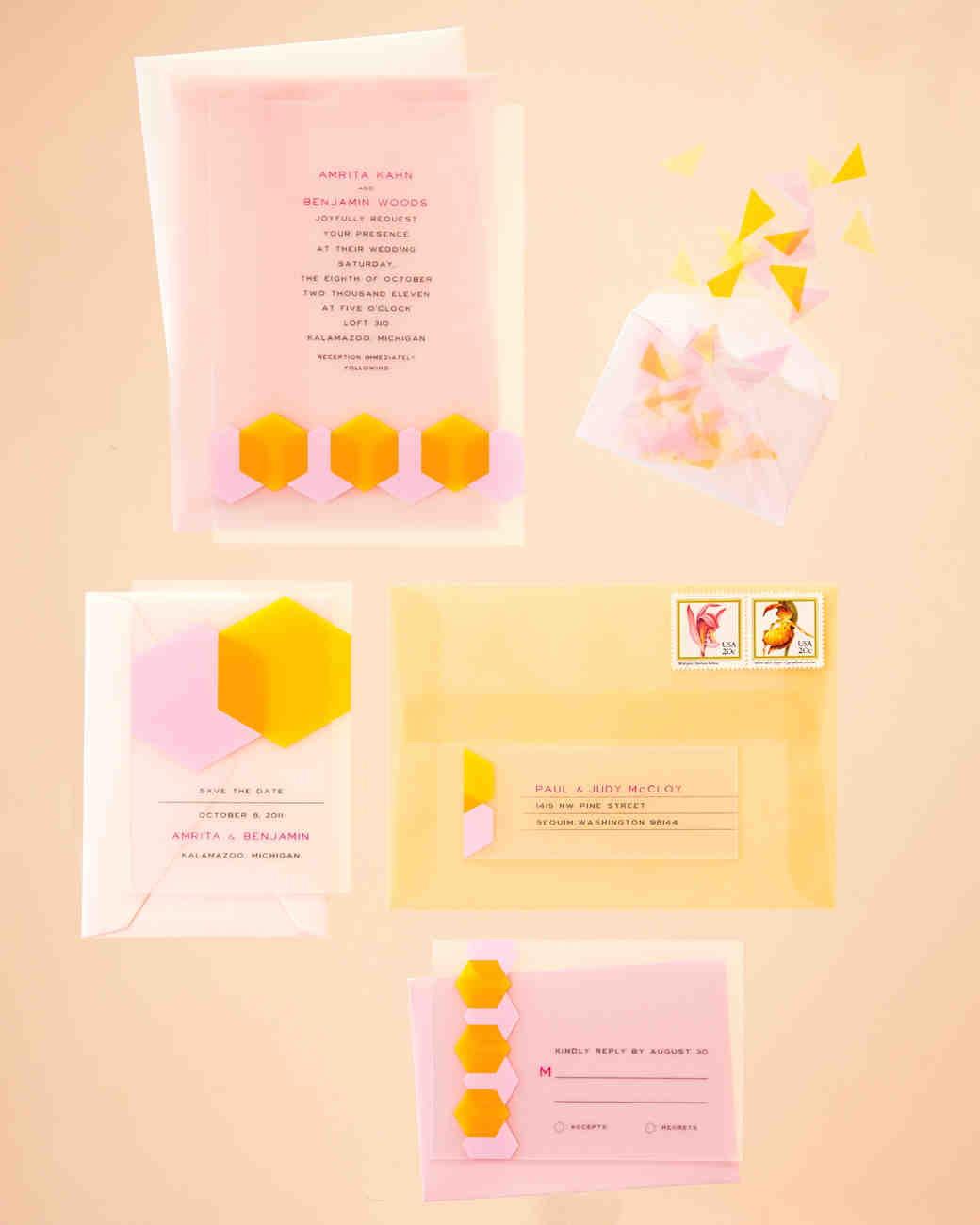 bright wedding invitation