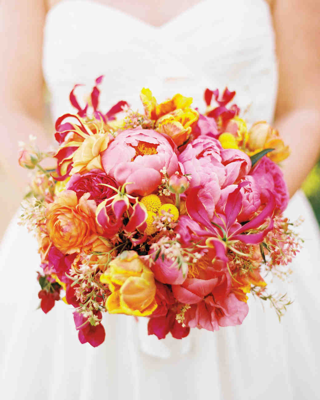 Bright Pink and Yellow Wedding Bouquet