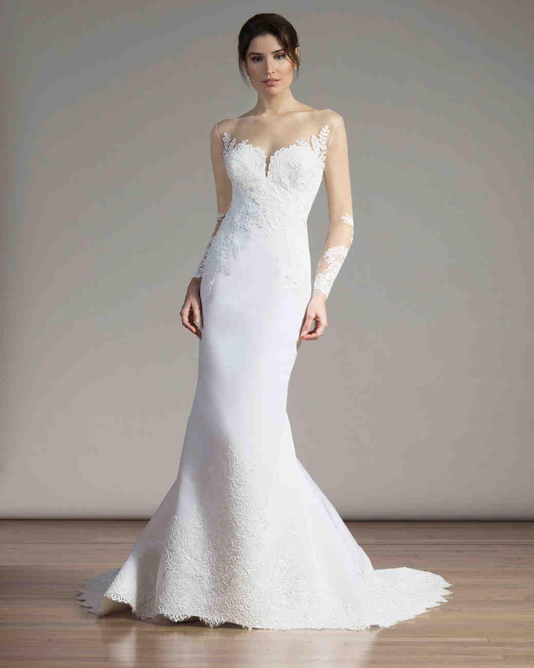 Liancarlo Illusion-Sleeved Mermaid Gown