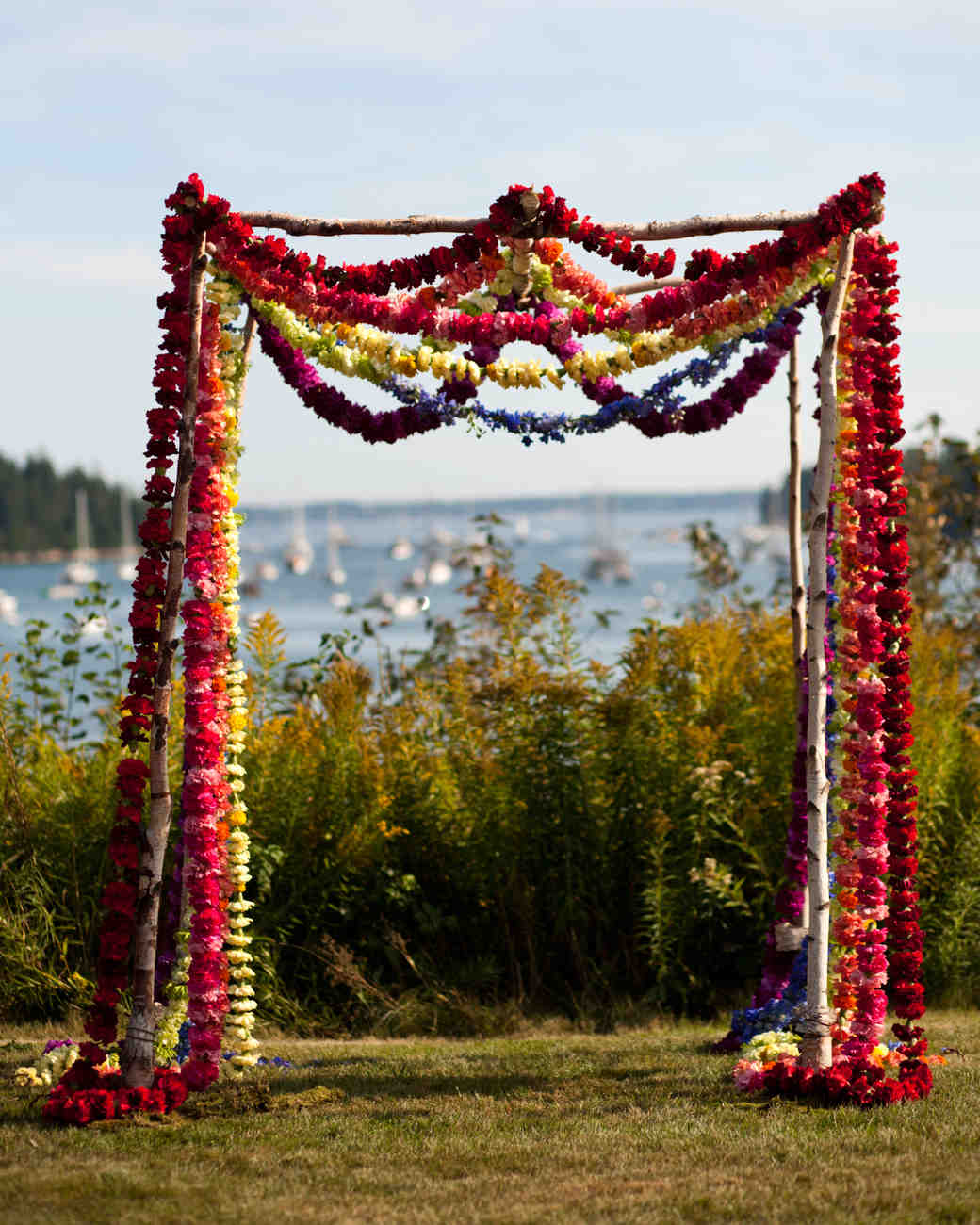 Colorful Flower Garland Wedding Arch