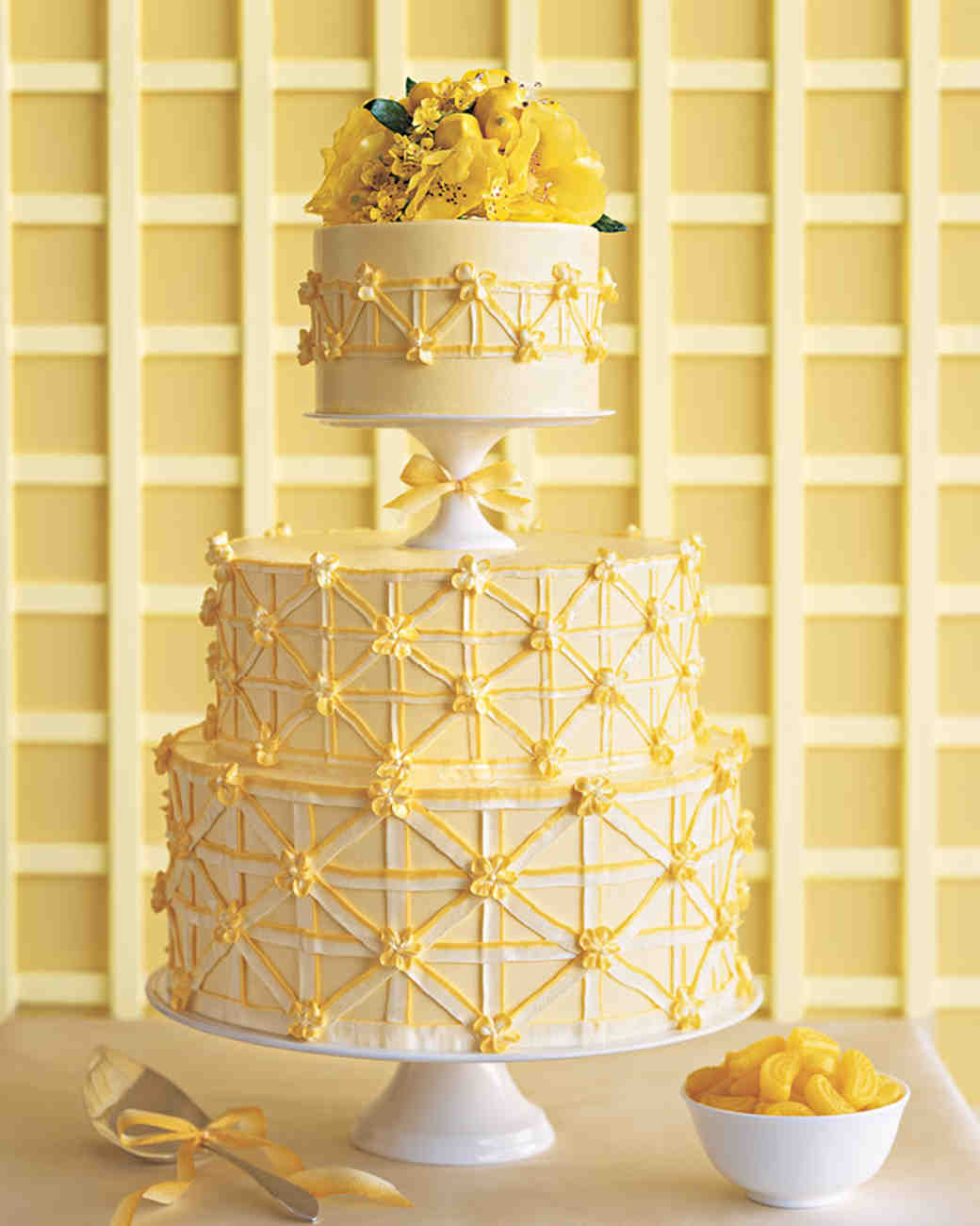 Yellow Patterned Wedding Cake