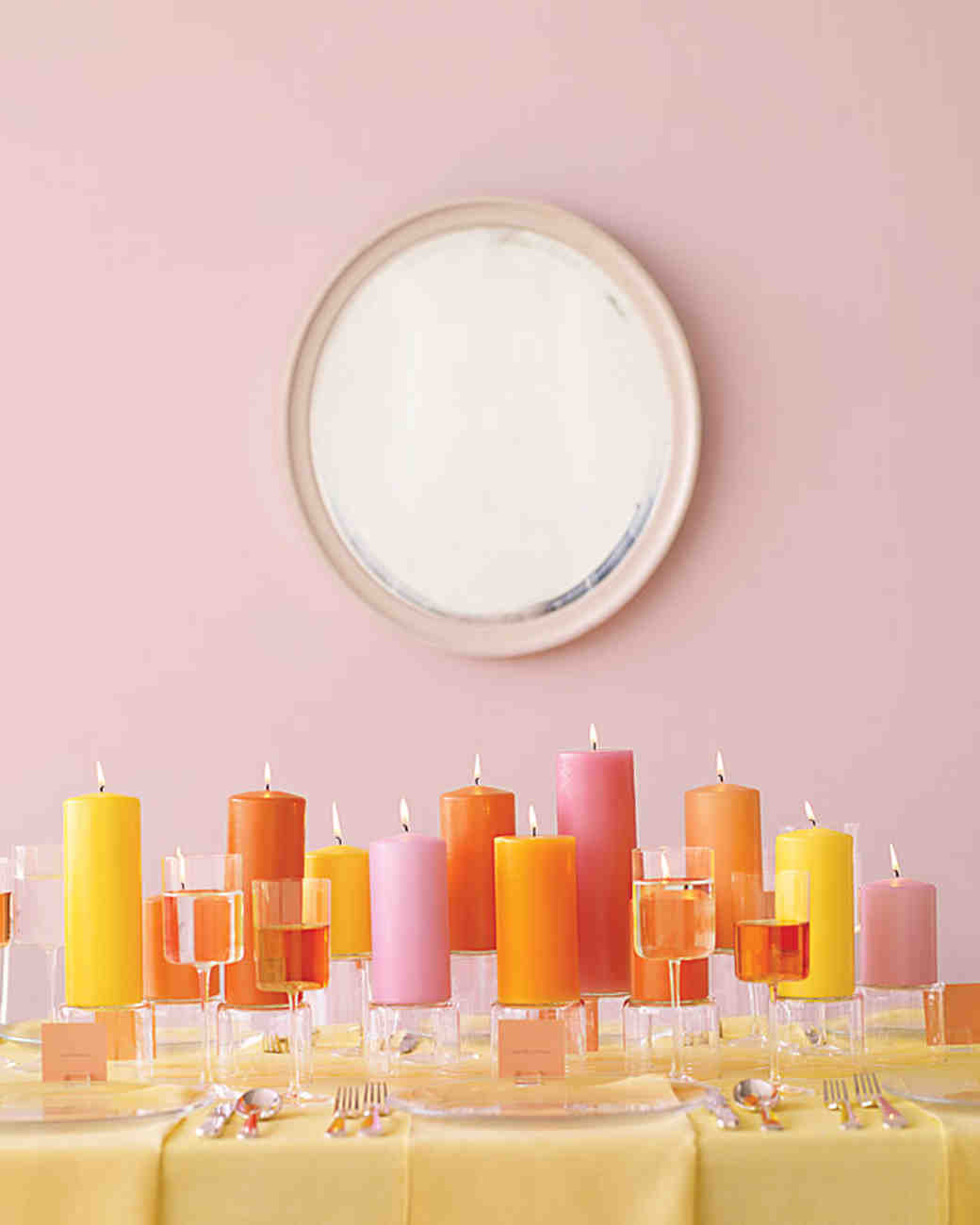 Pink, Orange, and Yellow Candles
