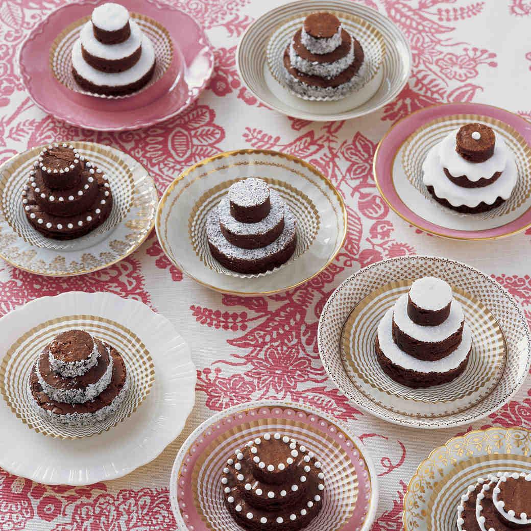Tiny Brownie Wedding Cakes