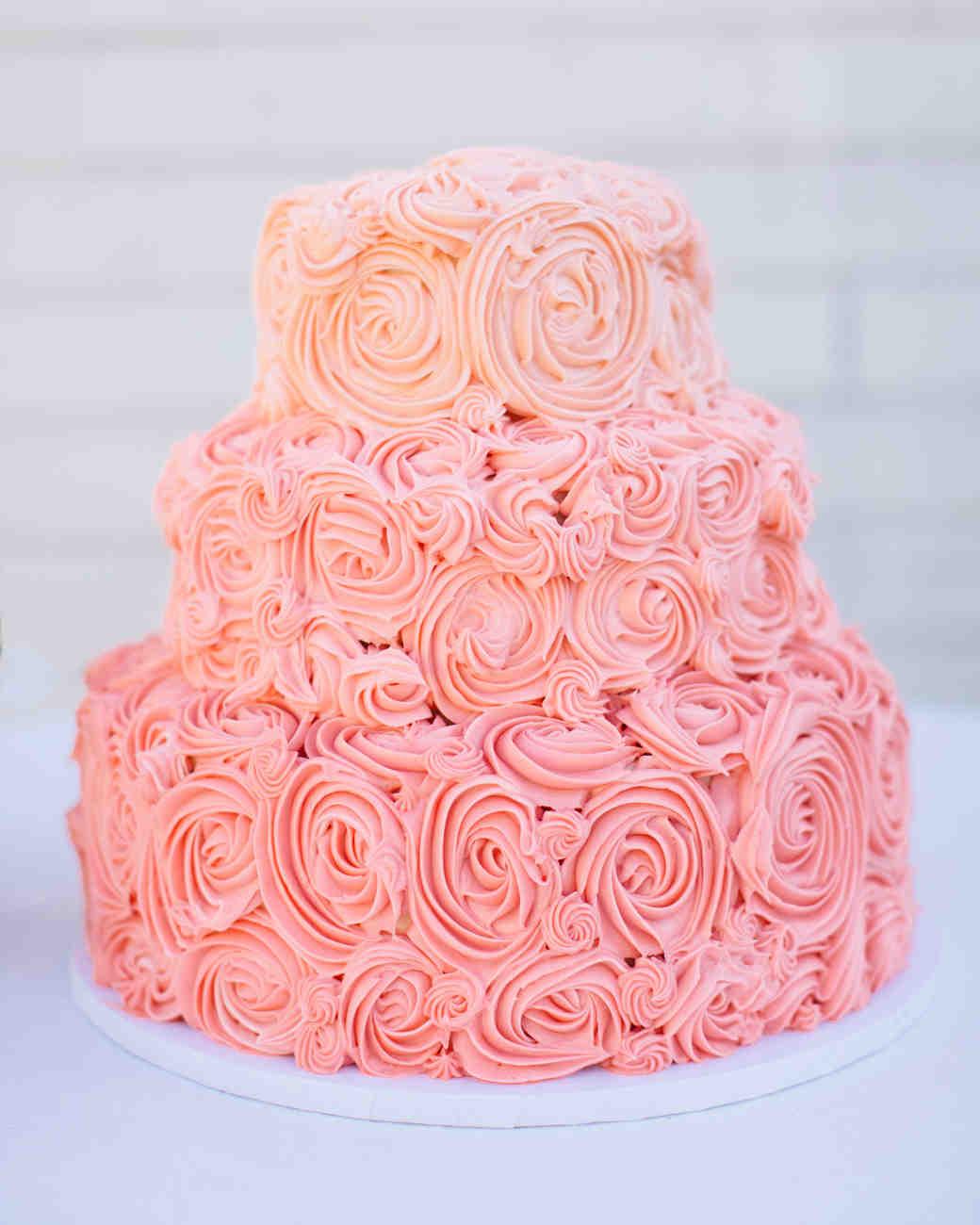 pink swirled buttercream cake