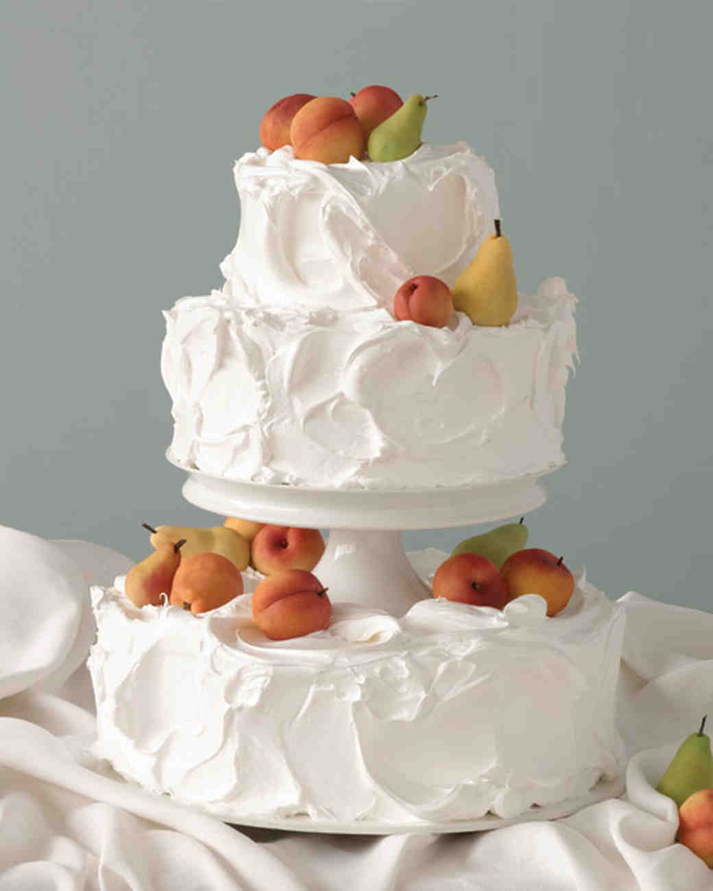 Peach and Pear Wedding Cake