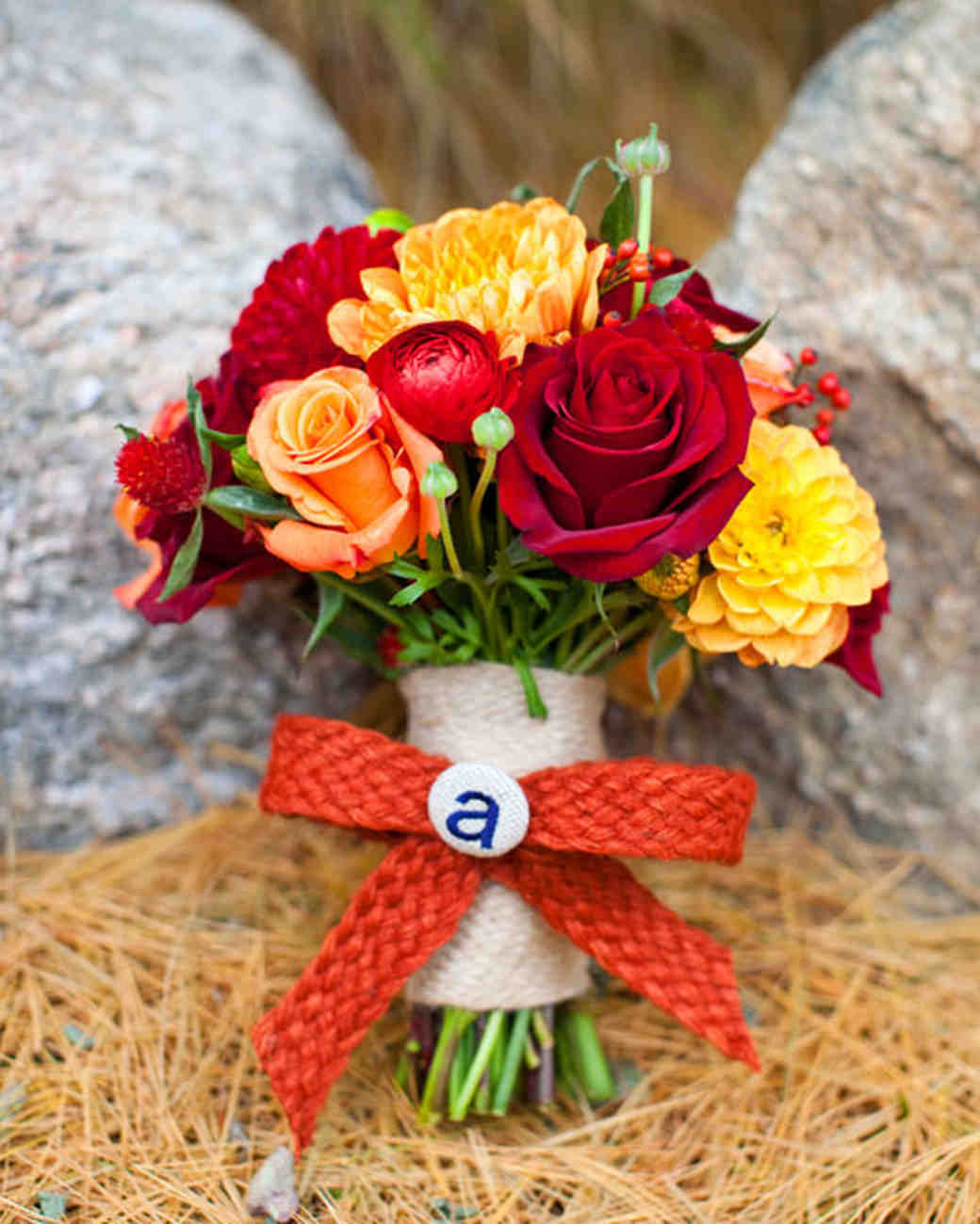 Red, Orange, and Yellow Nosegay Bouquet with Monogrammed Bow