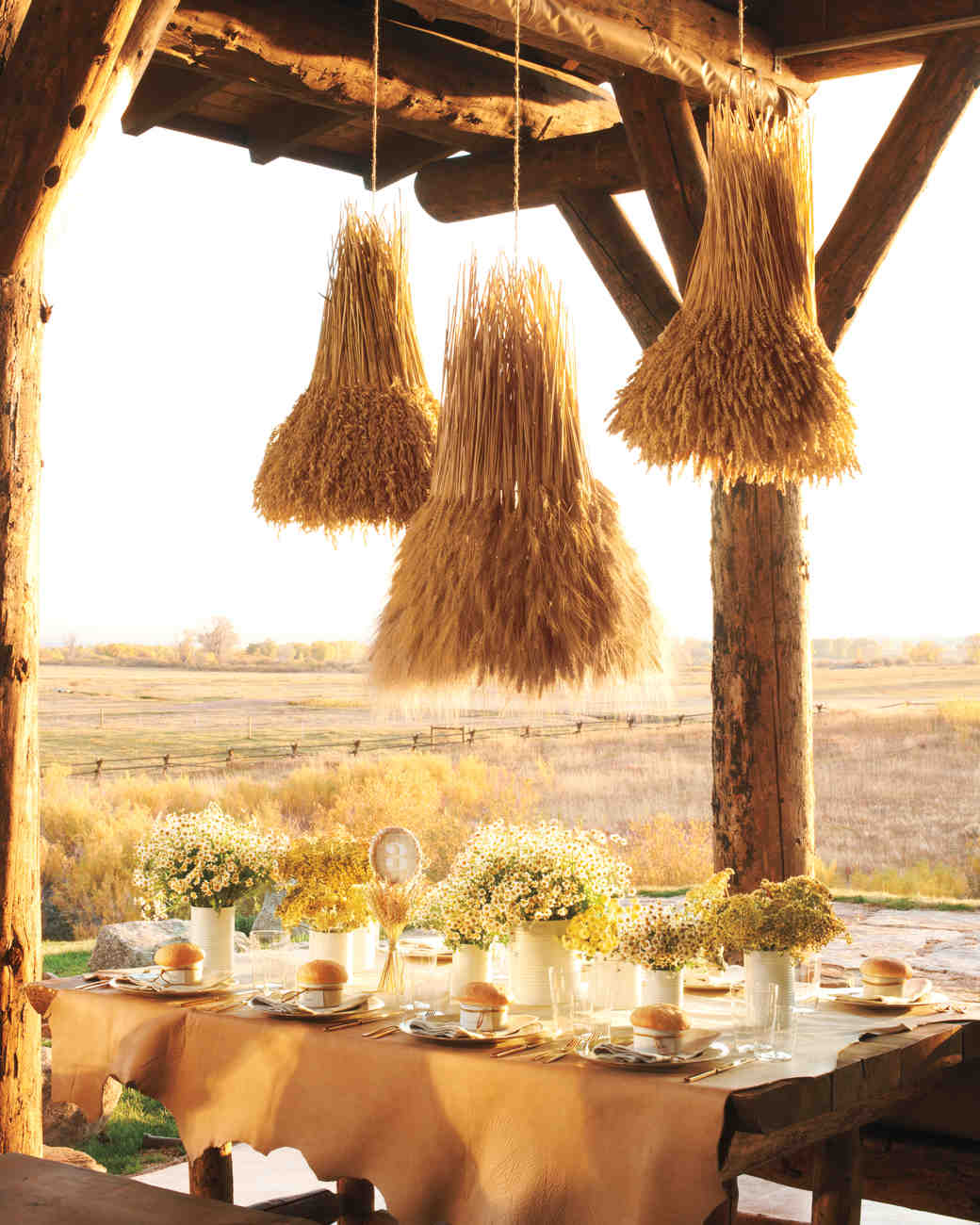 Rustic country wedding ideas martha stewart weddings for Country wedding reception decorations