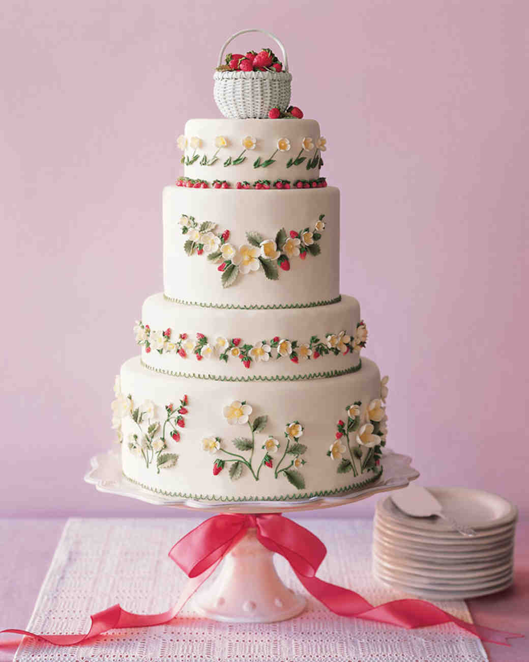 Flowers and Strawberries White Wedding Cake