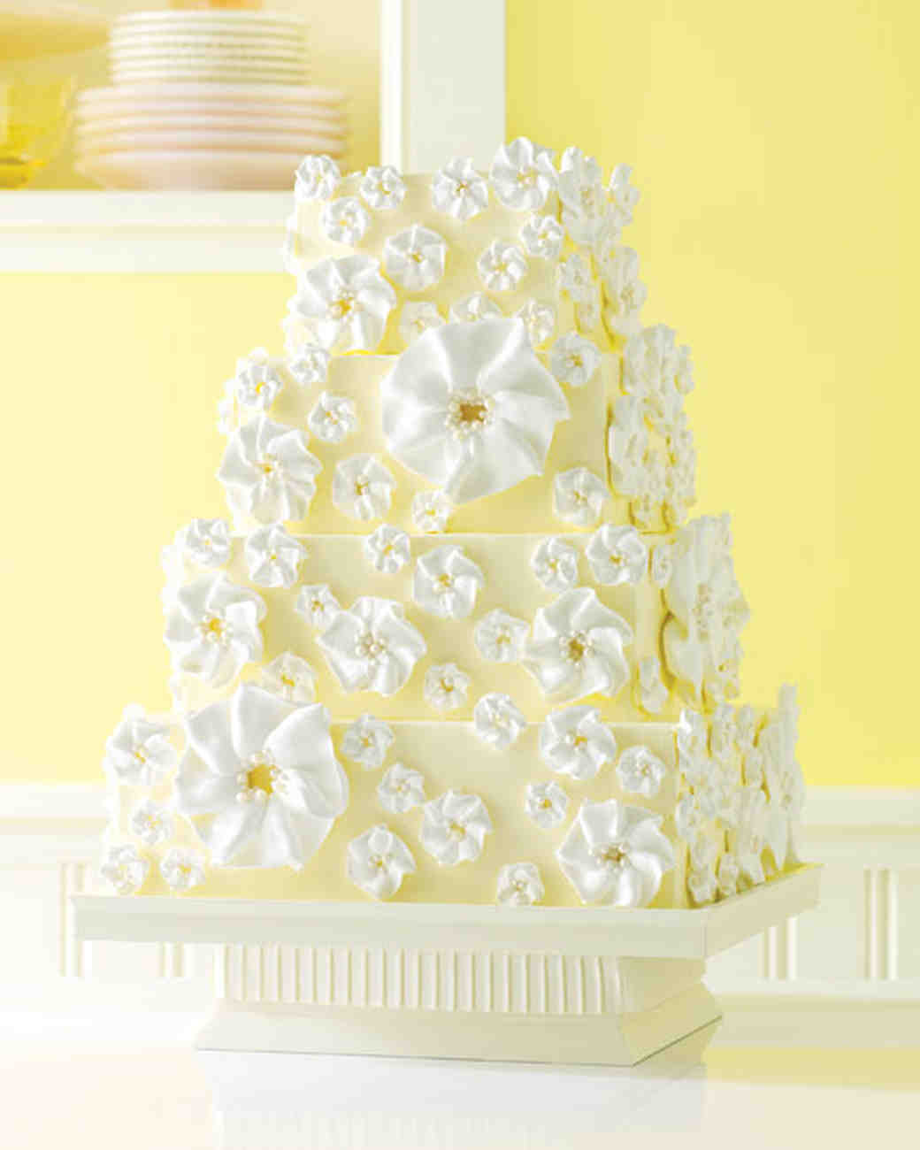Blue Yellow And White Wedding Cakes