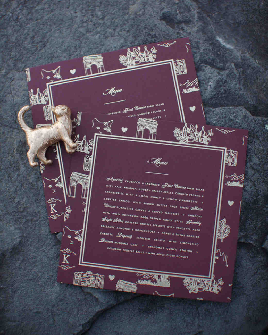Reception Menu with Pet-Themed Design