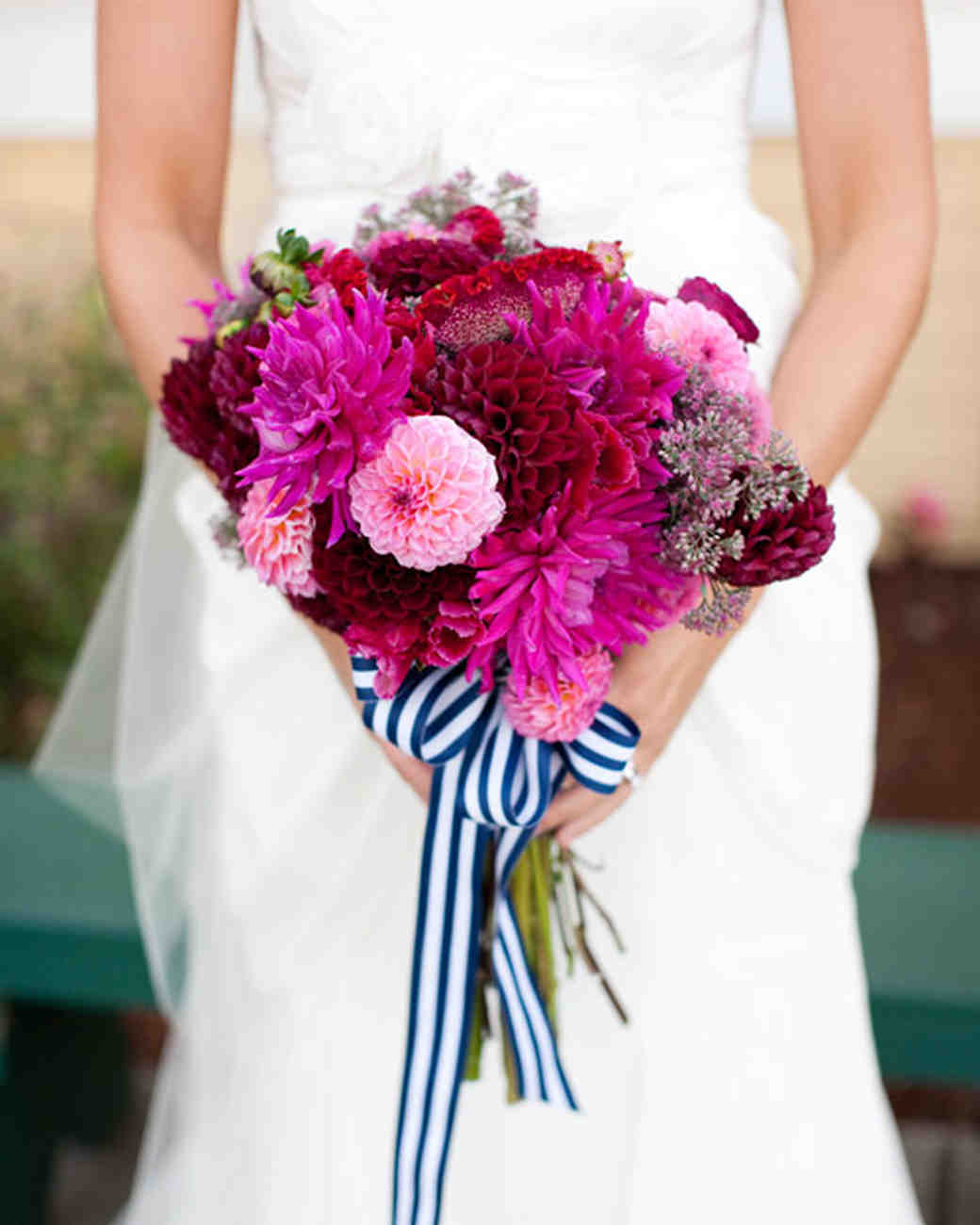 Hot Pink Bridal Bouquet with Navy and White Striped Bow