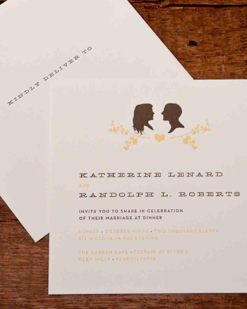Vintage wedding invitations martha stewart weddings for Wedding invitations wording martha stewart