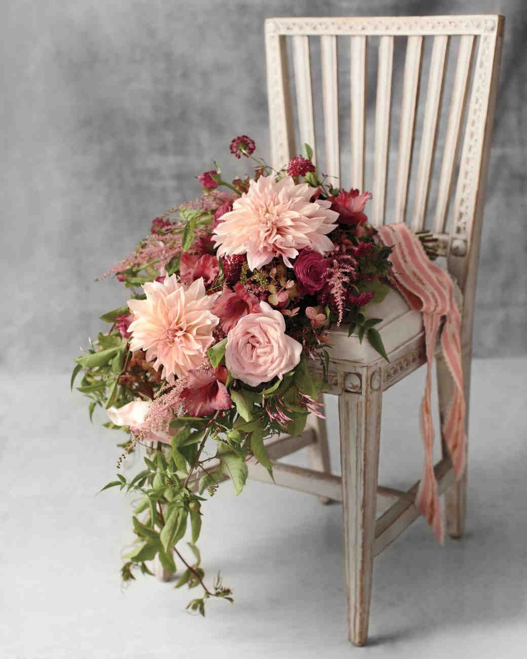 Muted Red and Pink Bouquet with Cascading Greenery
