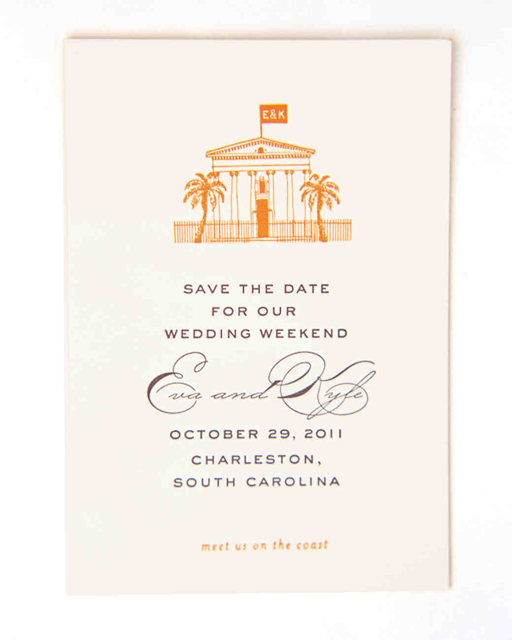 Beachy Save-the-Date with Orange Illustration