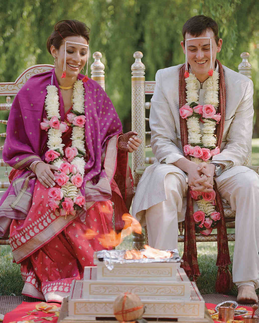 Hindu Wedding: A Traditional Pink Wedding Outdoors In California