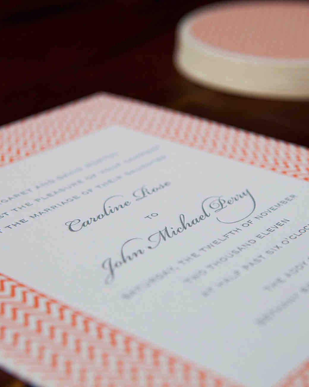 zigzag wedding invitation