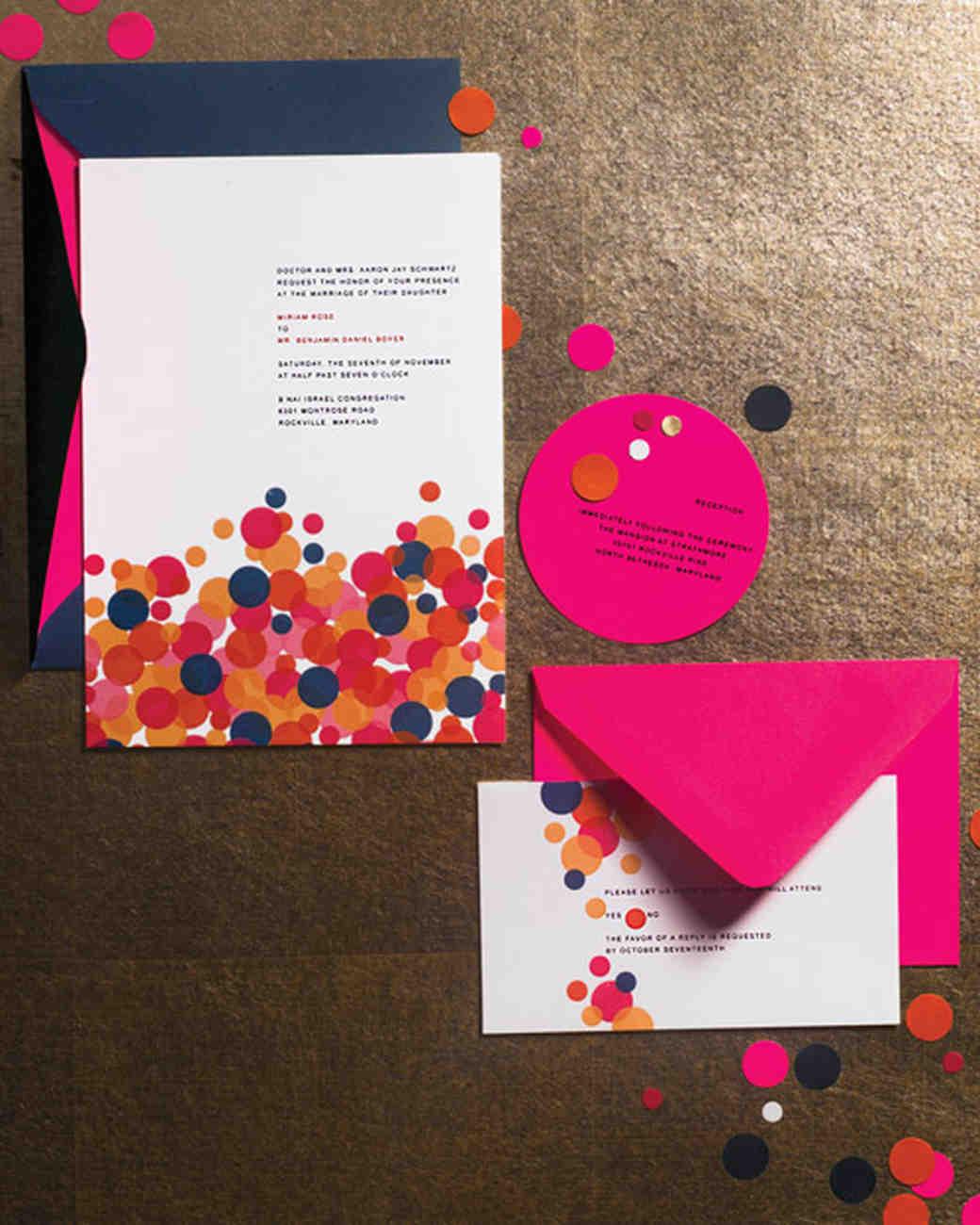 confetti wedding invitation