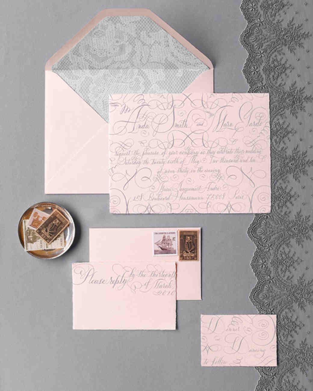 gray and pink wedding invitation