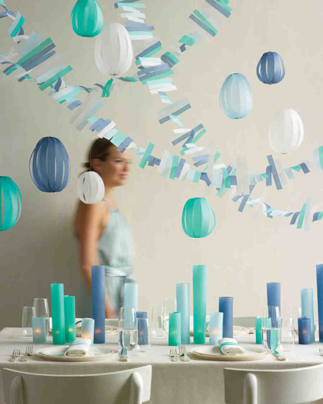 Blue Paper Lanterns and Garlands