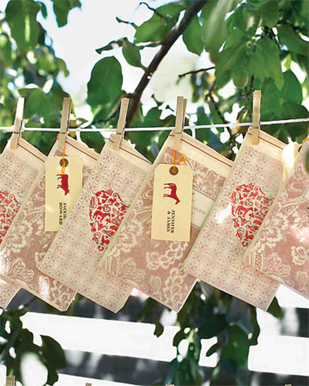 Clothesline with Stamped Gift Bags