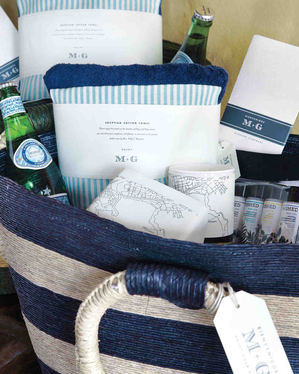A navy and white destination wedding on the beach in for Destination wedding gift bags